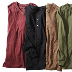 MIX & MATCH LONG-SLEEVE CREW-HENLEY-MOCK TEES & POLOS