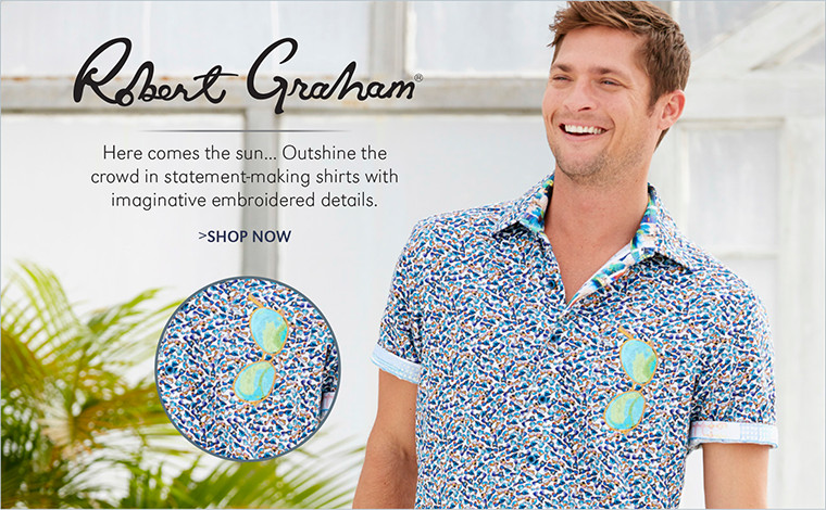 ROBERT GRAHAM | Here comes the sun... Outshine the crowd in statement-making shirts with imaginative embroidered details. | SHOP NOW