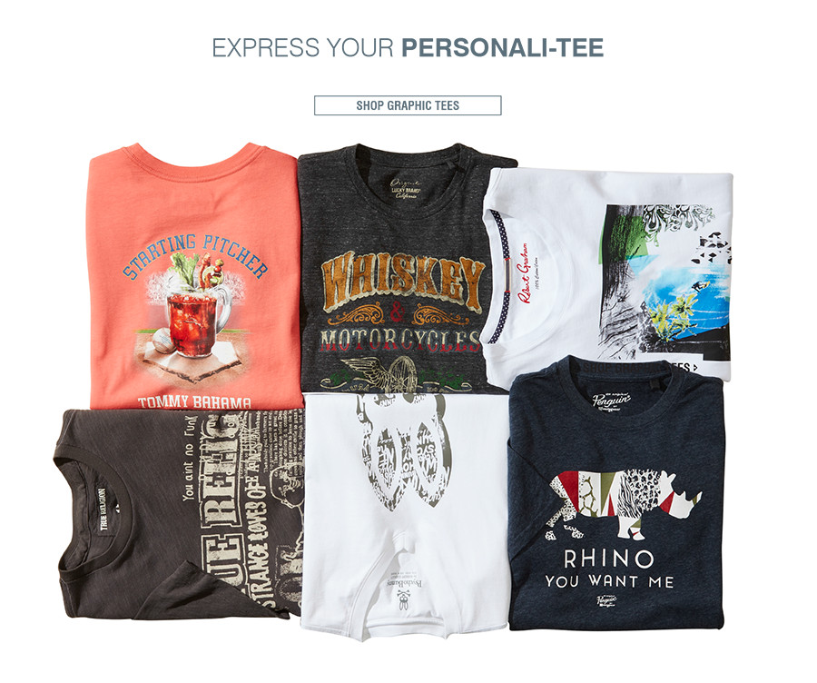 EXPRESS YOUR PERSONALI-TEE | Go ahead and get graphic with fun tees that show 'em who you really are. | SHOP GRAPHIC TEES