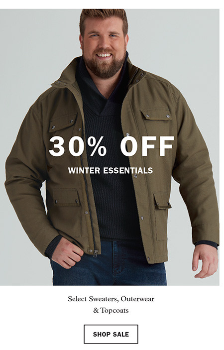 30% off Winter Essentials: Select Sweaters, Outerwear, & Topcoats. Shop Sale