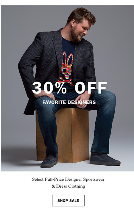 30% off Favorite Designers: Select Full-Price Designer Sportswear and Dress Clothing