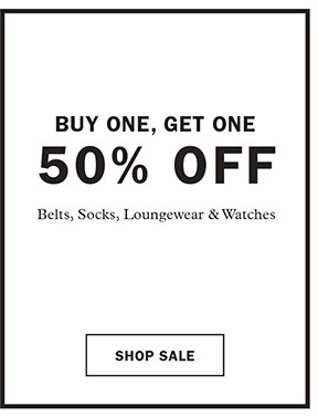 Buy One, Get One 50% Off: Belts, Socks, Loungewear & Watches. Shop Sale