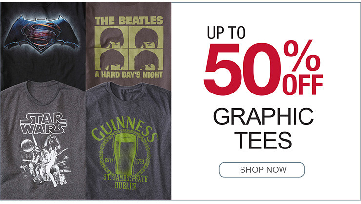 UP TO 50% OFF GRAHPIC TEES SHOP NOW