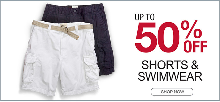 UP TO 50% OFF SHORTS AND SWIMWEAR SHOP NOW