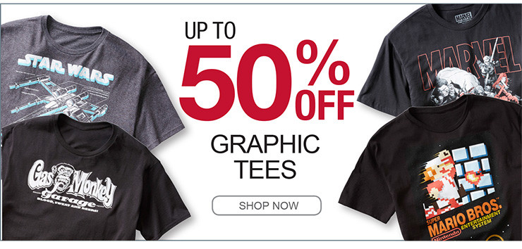 UP TO 50% OFF GRAPHIC TEES SHOP NOW