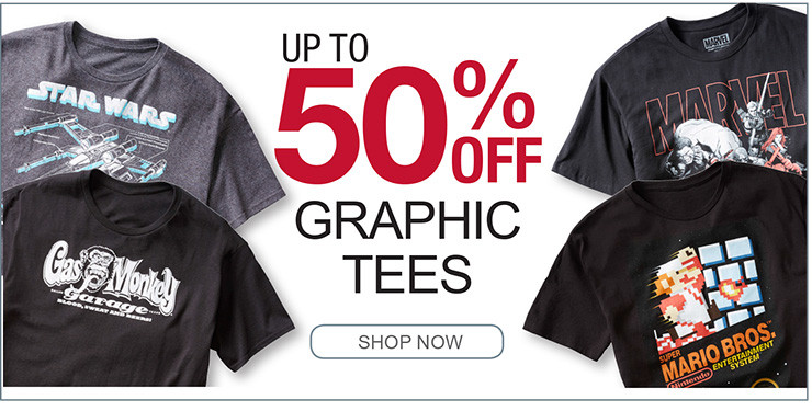 UP TO 50% OFF GRAPHIC TEES