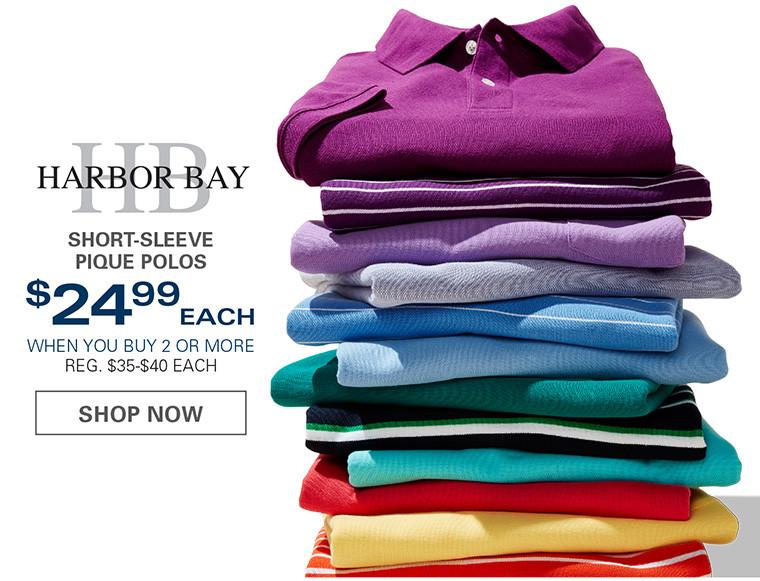 HARBOR BAY SHORT-SLEEVE HARBOR BAY POLOS | $25.99 EACH WHEN YOU BUY 2 OR MORE