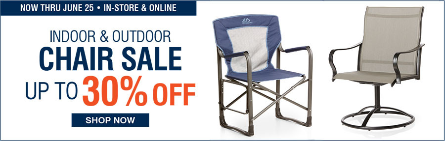 INDOOR AND OUTDOOR CHAIR SALE | UP TO 30% OFF - 6/19/2017 through 6/25/2017