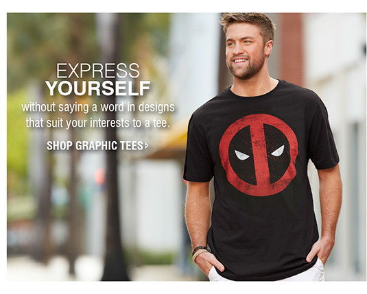 EXPRESS YOURSELF without saying a word in designs that suit your interests to a tee. | SHOP GRAPHIC TEES