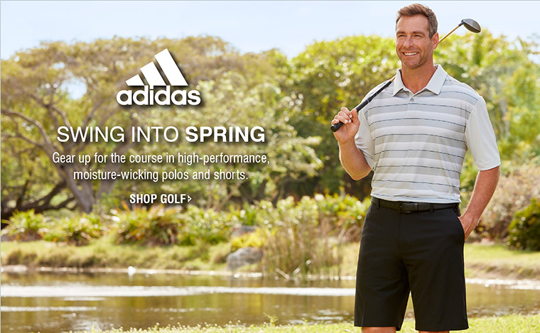 SWING INTO SPRING | Gear up for the course in high-performance, moisture-wicking polos and shorts. | SHOP GOLF