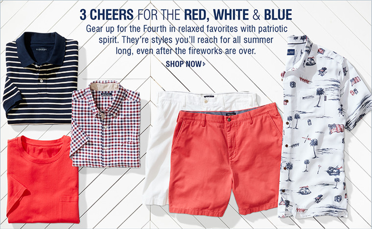 CHEERS FOR THE RED, WHITE & BLUE | Gear up for the Fourth in relaxed favorites with patriotic spirit. They're styles you'll reach for all summer long, even after the fireworks are over. | SHOP NOW