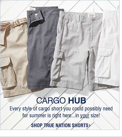 CARGO HUB | Every style of cargo short you could possibly need for summer is right here...in your size! | SHOP TRUE NATION SHORTS
