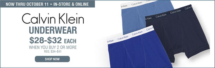 Now Thru October 11 | In-Store & Online | Calvin Klein Underwear $28 - $32 each when you buy 2 or more REG. $34 - $41 Shop Now