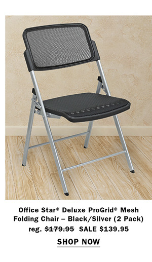 Office Star® Deluxe ProGrid® Mesh Folding Chair – Black/Silver (2 Pack)
