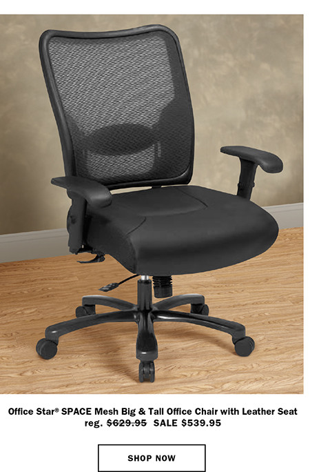 Office Star® SPACE Mesh Big & Tall Office Chair with Leather Seat