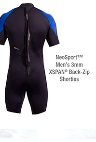 NeoSport Mens 3mm XSPAN® Back-Zip Shorties – Extended Sizes