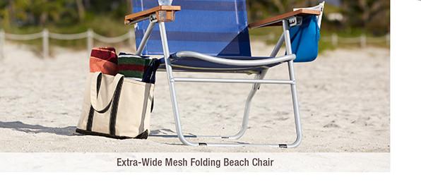Extra-Wide Mesh Folding Beach Chai