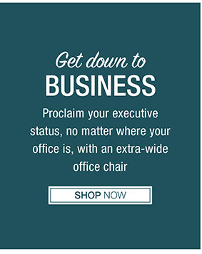 Get down to BUSINESS Proclaim your executive status, no matter where your office is, with an extra-wide office chair Shop Now
