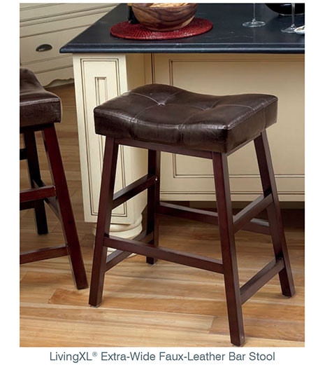 LivingXL® Extra-Wide Faux-Leather Bar Stool