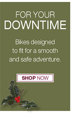FOR YOUR DOWNTIME BIKES DESIGNED TO FIT FOR A SMOOTH AND SAFE ADVENTURE SHOP NOW