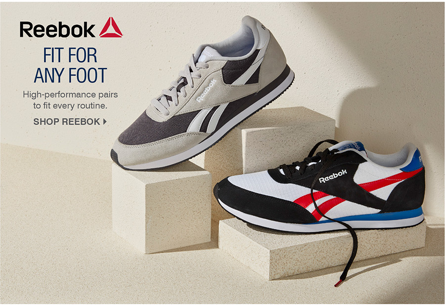 FIT FOR ANY FOOT. HIGH-PERFORMANCE PAIRS TO FIT EVERY ROUTINE. SHOP REEBOK