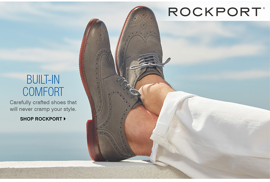 BUILT-IN COMFORT: CAREFULLY CRAFTED SHOES THAT WILL NEVER CRAMP YOUR STYLE. SHOP ROCKPORT