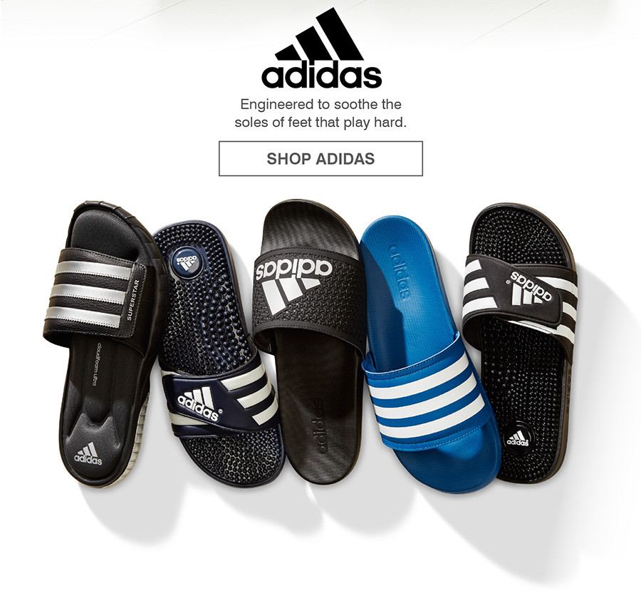ENGINEERED TO SOOTHE THE SOLES OF FEET THAT PLAY HARD. SHOP ADIDAS
