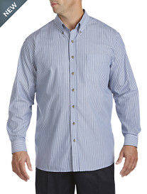 Harbor Bay® Long-Sleeve Easy-Care Stripe Sport Shirt
