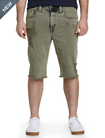 True Religion® Ricky Olive Backdrop Stretch Denim Shorts