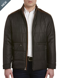 Remy Leather-Trim Quilted Nylon Jacket