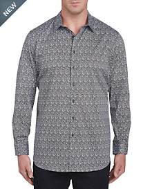 Perry Ellis Mini Floral Print Sport Shirt