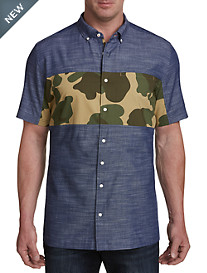 Original Penguin Camo-Stripe Chambray Sport Shirt