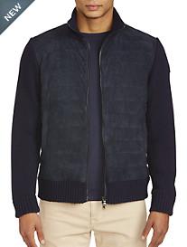 Paul & Shark Suede-Front Full-Zip Sweater
