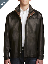 Remy Shearling-Collar Leather Jacket