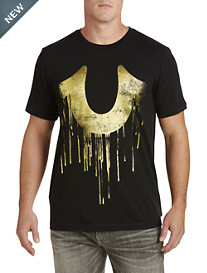 True Religion Metallic Gold Horseshoe Graphic Tee