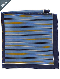 Rochester Stripe Geo Multi Silk Pocket Square