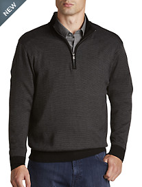Cutter & Buck® Collin Half-Zip Stripe Mockneck Sweater