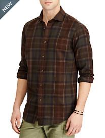 Polo Ralph Lauren® Classic Fit Suede-Trim Plaid Twill Sport Shirt
