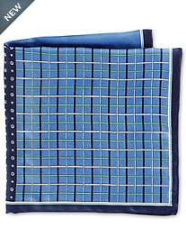 Rochester Plaid Geo Multi Silk Pocket Square