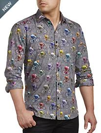 Jared Lang Multi Bikes Print Sport Shirt