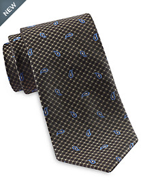 Rochester Small Gingham Paisley Silk Tie