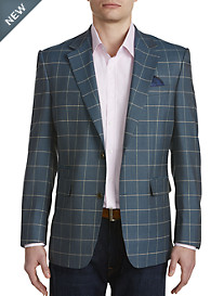 Tallia Orange Windowpane Plaid Sport Coat