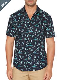 Cubavera® Navy Blazer Print Sport Shirt