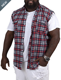 MVP Collections Distressed Sleeveless Flannel Vest
