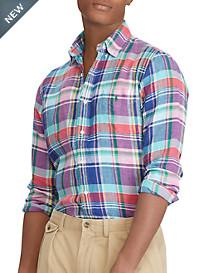 Polo Ralph Lauren® Classic Fit Plaid Linen Sport Shirt