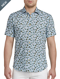 Jared Lang Palm Tree Print Sport Shirt