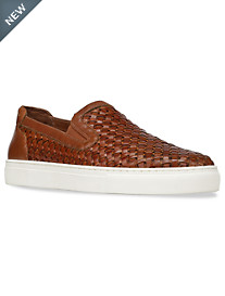 Donald J. Pliner Clark Woven Double-Gore Leather Slip-Ons