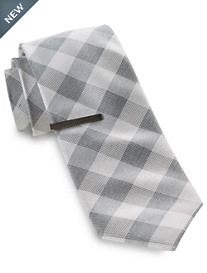 Gold Series® Oxford Plaid Tie with Tie Bar