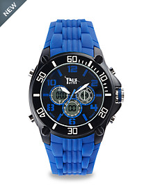 True Nation® Blue Anadigit Rubber-Banded Watch