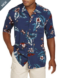 Island Passport® Floral and Leaf-Print Sport Shirt